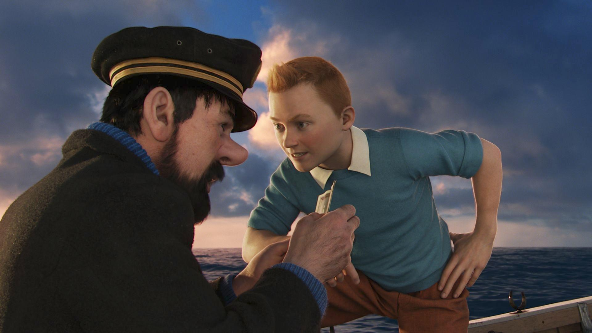 Left to right: Captain Haddock (Andy Serkis) and Tintin (Jamie Bell) in