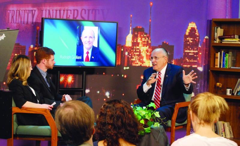Photo by Purushottam Shah. Former New York City Mayor Rudolph Giuliani answers student questions during a forum with Tiger TV in Richardson Communications Center on April 4.