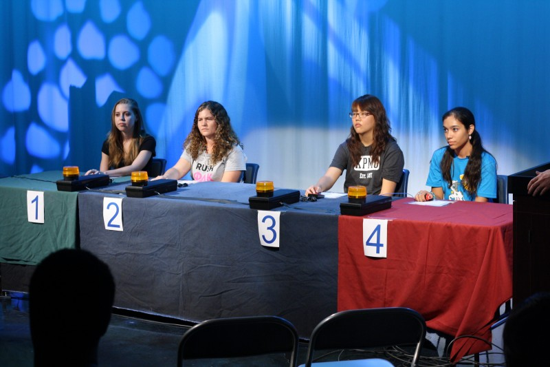 Senior Laura Hall, junior Paige Carlson, senior Joan Chang and sophomore Leah Hoffpauir compete in Tiger TV's first full length game show on Wednesday, September 26th. Contestants were asked multiple choice questions about the first amendment for a chance to win a brand new iPad. Photo by Sarah Cooper