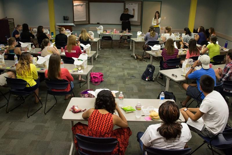 Greek members gather for a monthly CCI luncheon on Wednesday. Photo by James Shultz.