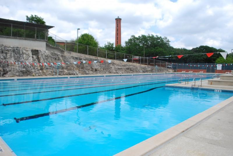 The outdoor pool, located on the south side of campus by the tennis court and the baseball and football fields, is 50 meters long and is open to Trinity students, staff and faculty. It is also open to members of the surrounding community through the Outdoor Club Membership. The pool is open all month except for two Saturdays when Trinity hosts home football games.