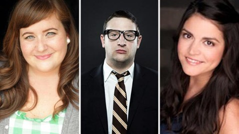 New permanent SNL cast members from left to right: Aidy Bryant, Tim Robinson and Cecily Strong.