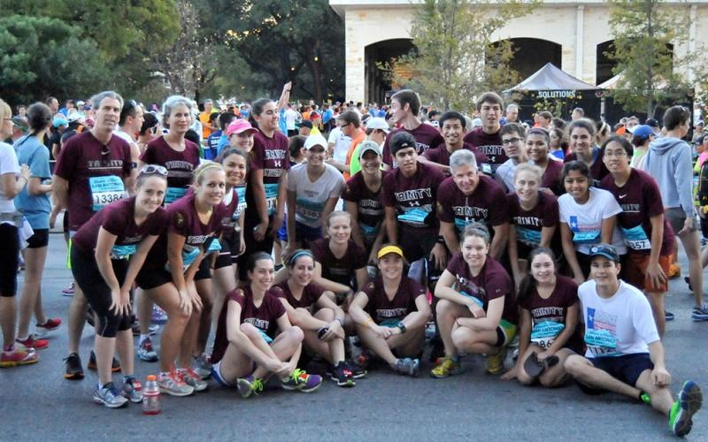 The group of Trinity participants pose for a picture after running the annual San Antonio Rock n' Roll marathon. Photo courtesy of David Tuttle.