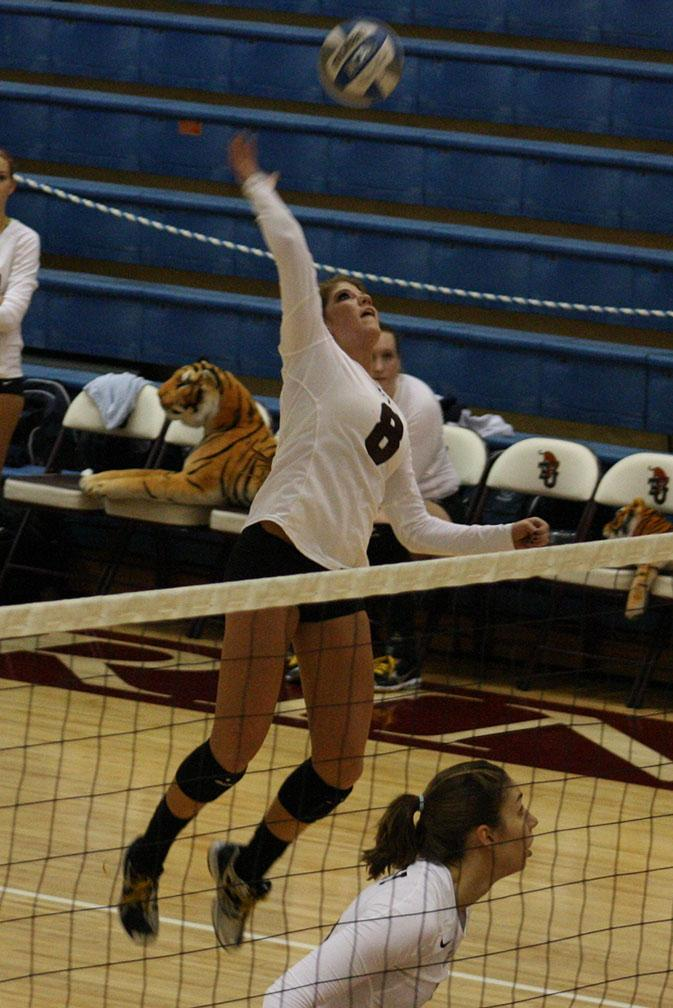 Sophomore+outside+hitter+Layne+Hubbard+spikes+the+ball+during+a+volleyball+game+against+Centenary+College+during+the+SCAC+Divisional+tournament+on+Oct.+21.+Photo+by+Sarah+Cooper.