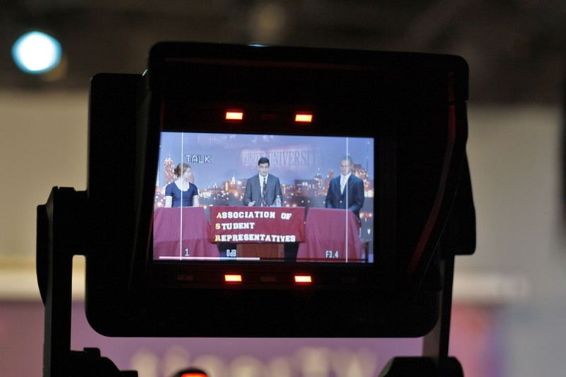 One of the TigerTV cameras, operated by student crew members, captures the ASR presidential debates in their studio on Wednesday  night. The debate aired on the TigerTV station and is now online for the rest of the campus community to view.