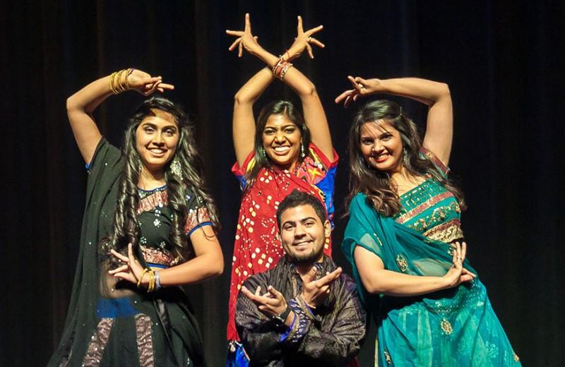 On Saturday, Nov. 17 in Laurie Auditorium, students celebrated the Hindi festival Diwali through dance. Here, seniors Asavari Jalan, Preksha Vankawala, Raza Faizi, and Lizna Makhani pose after finishing their senior piece, which they also choreographed. The festival, also known as the Festival of Lights, is a five day event that celebrates the triumph of good over evil.