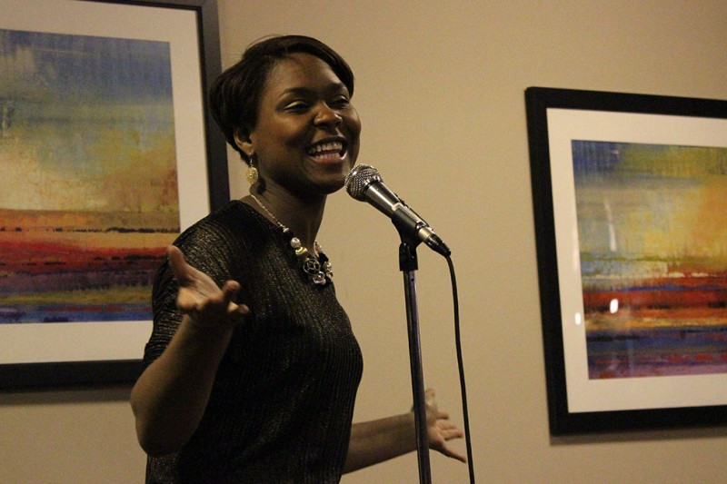 Poet Shanelle Gabrel visited Trinity's Skyline Room last Friday for the Black Student Union's poetry slam, Bringing the club's Black History Month events to a close.