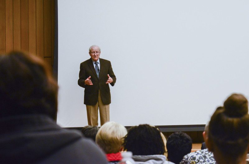 The Christians United for Israel (CUFI) organized for holocaust survivor Irving Roth to speak about his experience. He spoke on Monday evening in Chapman Auditorium. Photo by Megan McLoughlin.