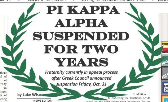 Pi Kappa Alpha Suspended