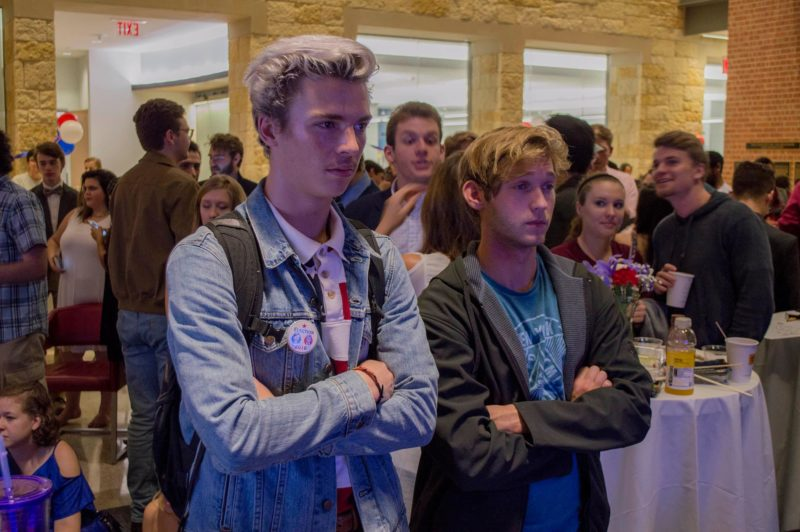 Students at the Trinity Progressives sponsored election watch party. Photo by Joseph Khalaf.