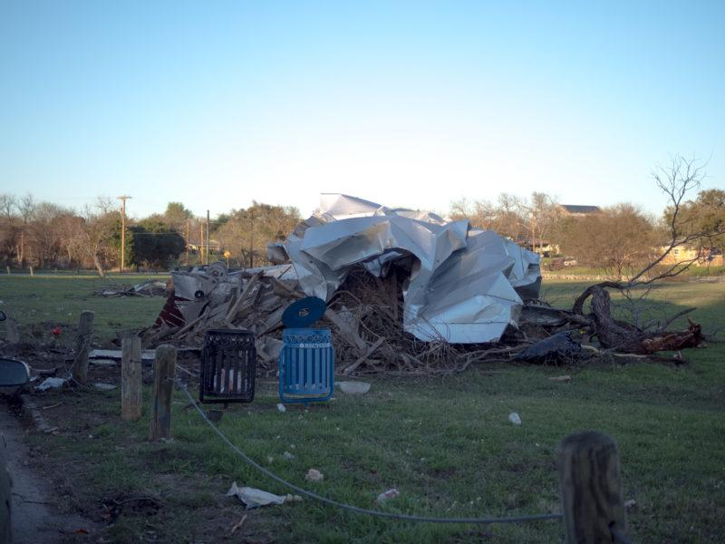 Damage of the tornado's touchdown can be seen throughout the areas that surround Trinity. photo by CLAUDIA GARCIA