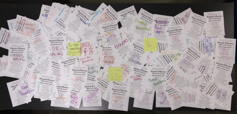 A+collection+of+the+flyers++were+returned+to+the+dorm+of+organizers+as+a+form+of+protest+to+Dinesh+D%C3%A2%E2%82%AC%E2%84%A2Souza+coming+to+campus.+D%C3%A2%E2%82%AC%E2%84%A2Souza+will+be+speaking+at+Trinity+on+March+7+at+7+p.m.+in+Laurie+Auditorium.++