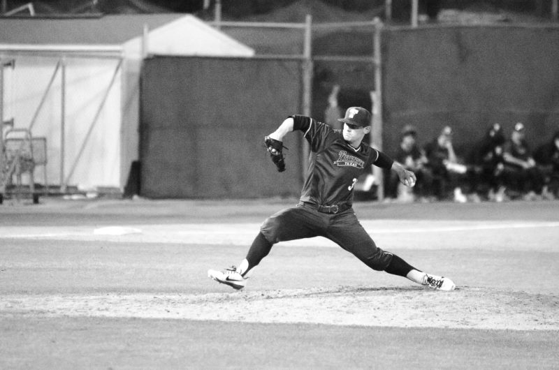 Photo+by+Ozvaldo+Veloz.+Senior+lefty+Chris+Tate+pitched+four+innings+of+no+hit+ball+in+the+Tigers%27+opening+victory%2C+earning+himself+a+celebration+after+striking+out+the+last+batter+of+the+night.