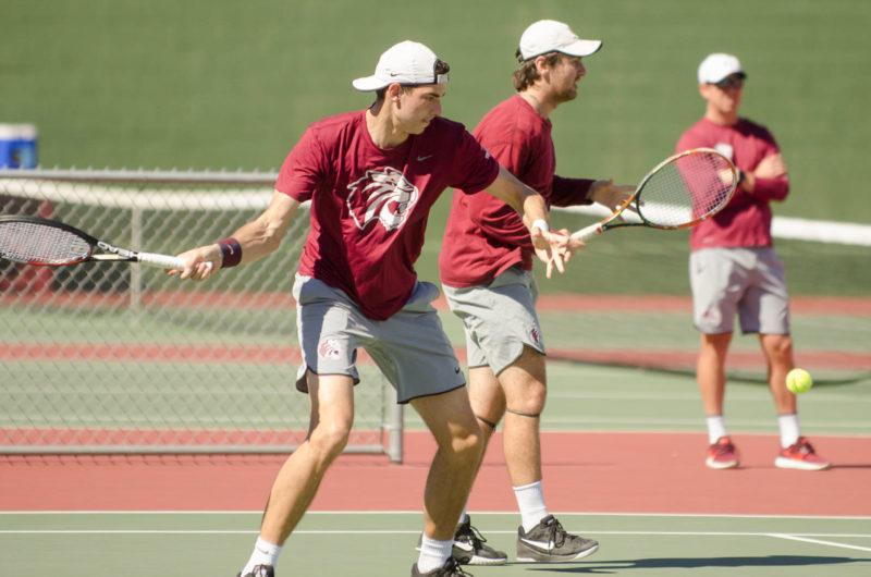 Junior Wilson Lambeth and senior Matt Tyer compete in the Division III Men's Doubles Championship. Photo by Osvaldo Veloz