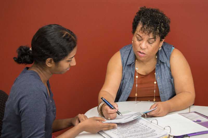 Stacy Davidson, right, instructs junior Seema Gavvala in the Academic Success Center. Photo by Chloe Sonnier