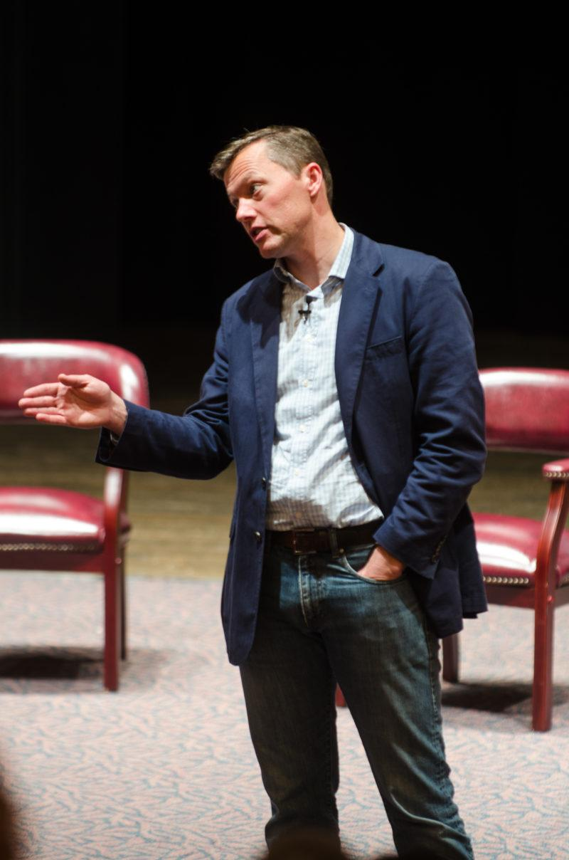 Author Matthew Desmond address the Trinity community during his lecture. Desmond's book Evicted was chosen as this year's Reading TUgether book.  photo by Amani Canada