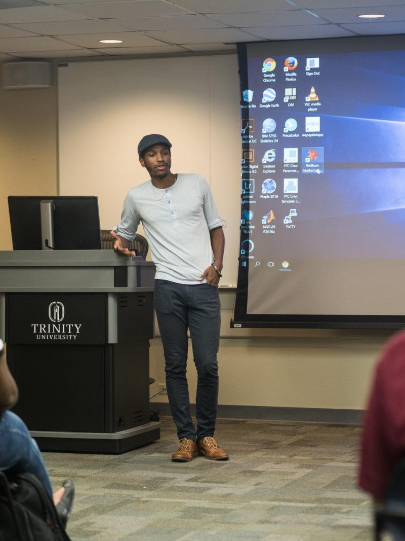Jonathon David Jones speaks to members of BSU and PRIDE about activism on college campuses. Photo by Amani Canada