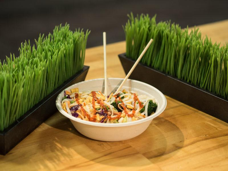 One of the vegetarian options at Freshii  is the Buddah's Sattay with tofu. For students with a restricted diet it is a great option. Photo by Amani Canada