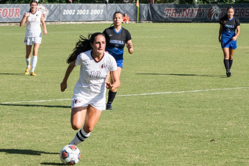 Junior midfielder Chelsea Cole races across the field. Photo by Allison Wolff