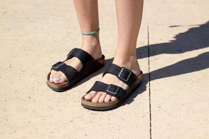 A Trinity student models the popular Birkenstock sandal. photo by STEPHEN SUMRALL--ORSAK