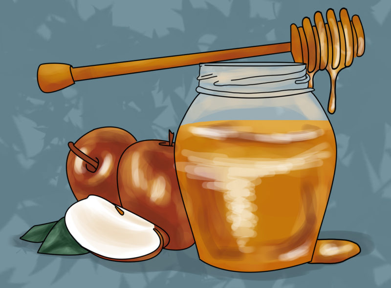 Apples+and+honey+are+a+traditional+meal+following+the+fast+of+Rosh+Hashana.+illustration+by+Andrea+Nebhut