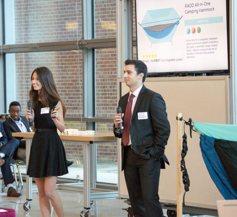Relax And Do Designs founders Jamie Procter and Sarah Fordin present their product during the second round of the Stumberg competition. Photo by Chloe Sonnier