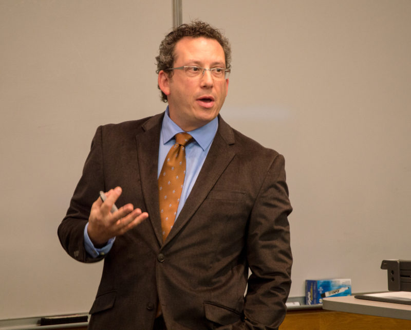 Aaron Hoffman, associate professor of political science at Purdue University, was the first lecturer in the guest lecture series on terrorism. Hoffman discussed the influence of media on terrorism. photo by Chloe Sonnier
