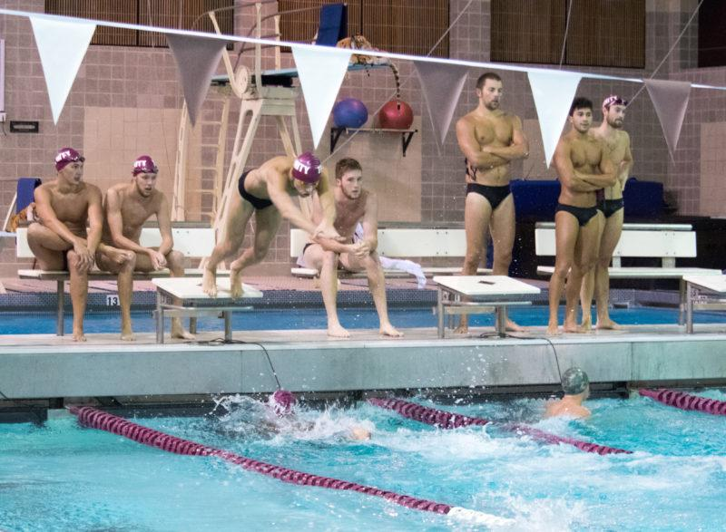 Trinity's swim team kicked off their first meet this past weekend on Saturday, Oct. 20. Photo by Allison Wolff