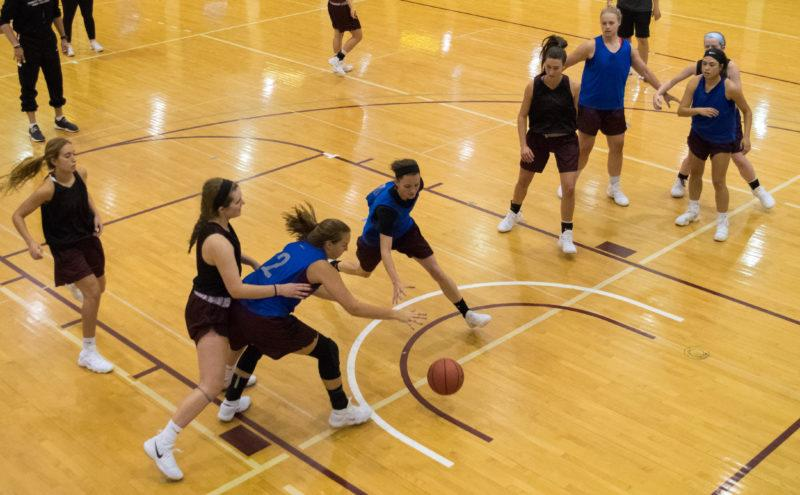 The women's basketball team has begun practicing for their winter season, which starts on Nov. 17. Photo by Allison Wolff