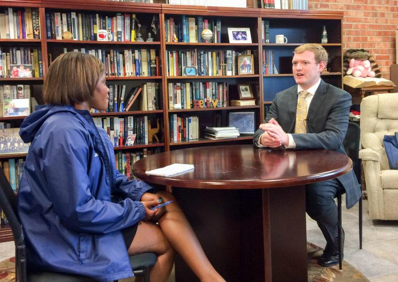 NEWS 4 reporter Ashlei King speaks to Trinity senior Jonah Wendt about the national nonprofit he co-founded, Students for Opioid Solutions. photo provided by Manfred Wendt