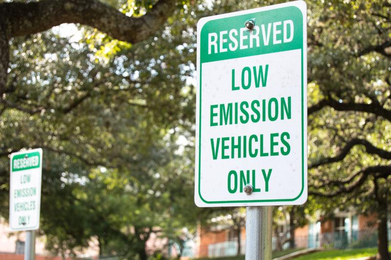 To meet LEED requirements, residence halls must provide  preferred parking for low-emitting and fuel-efficient vehicles for three percent of residents. Photo by Chloe Sonnier