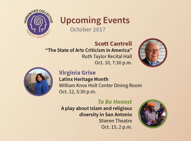 Upcoming events through Trinity's Humanities Collective. Graphic by Tyler Herron