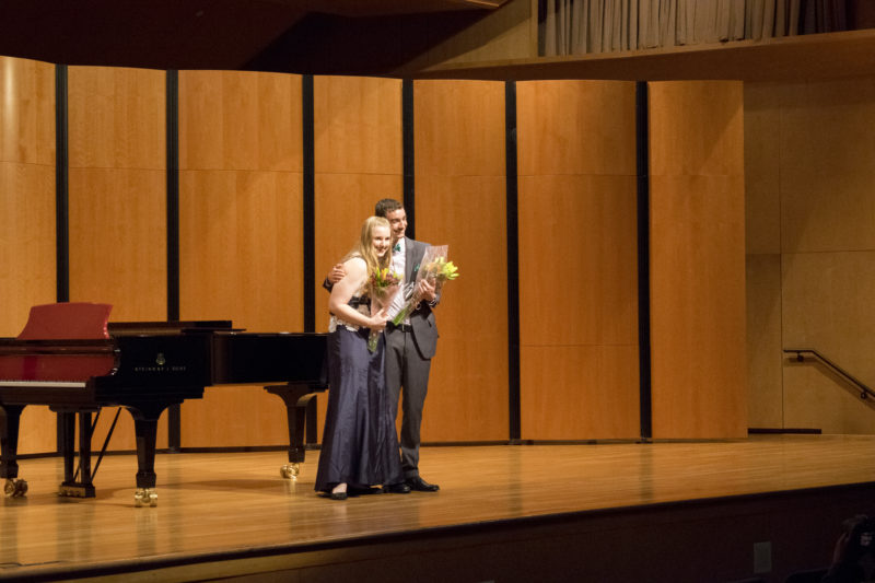 Kendall Walshak, left,  and Shane Bono, right,  were the first and second place winners of the Rosalind Phillips Vocal Excellence Competition, respectfully. photo by Allison Wolff
