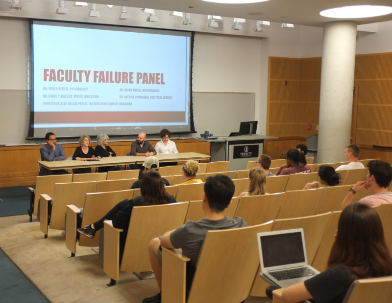 A panel of faculty gathered to help students feel more comfortable with failing and to help them see it as a stepping stone rather than as a setback. Photo by Stephen Sumrall-Orsak