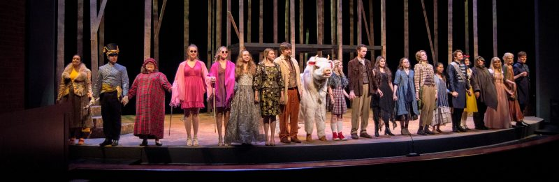 The+cast+of+%22Into+the+Woods%22+takes+a+bow+at+the+end+of+the+show.+photo+by+Chloe+Sonnier%2C+staff+photographer