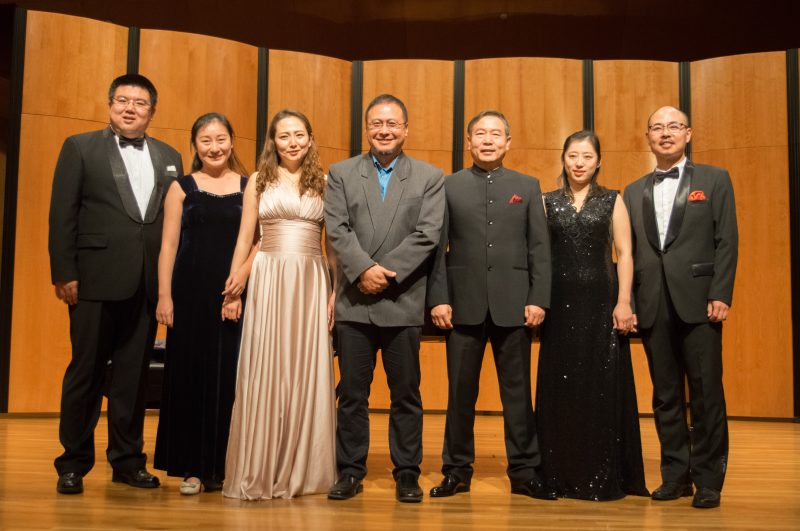 Musicians of the Music School of Henan Polytechnic University stand after performing an array of traditional Chinese songs. The show highlighted the uniqueness and evolution of Chinese music. photo by Allison Wolff, staff photographer
