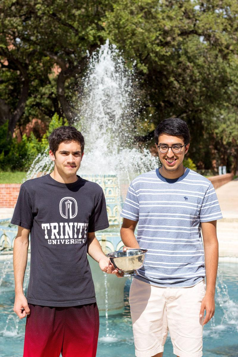 Sophomores Ian Dill, left, and Ansh Khullar, right, have been debating since their first year at Trinity. Photo by Stephen Sumrall-Orsak, staff photographer
