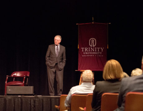 "Ted Koppel, a broadcast journalist and the founder of ABC's ""Nightline,"" spoke in Laurie Auditorium of the importance of truth and fact-checking in news and of the current political climate in media. photo by Amani Canada"