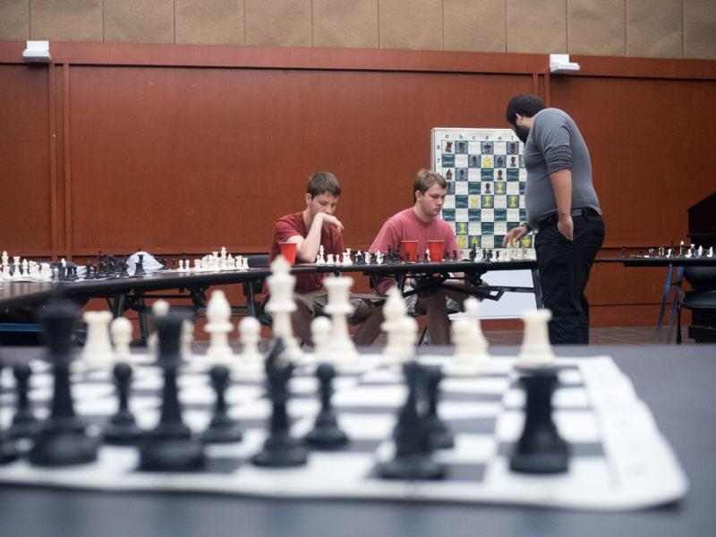 The Trinity Chess Club hosted Jesse Lozano, a San Antonio local and National Chess Master, for a simultaneous exhibition match against 11 students on Nov. 4. photo by Amani Canada