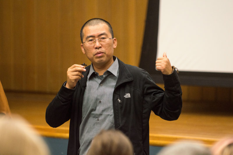 "Writer of ""Waking the Green Tiger"" Liu Jianqiang discusses the goals of the documentary. The film itself focuses on the rising amount of green protests in China, and the successes and challenges that such movements and the people who form them encounter. Photo by Allison Wolff"