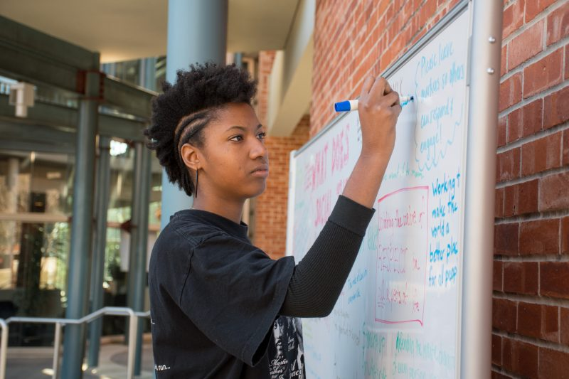 Sophomore Simone Washington was one of the students who organized the activism fair. The fair is the last event of a week-long celebration of Martin Luther King, Jr. Photo by  Chloe Sonnier, staff photographer