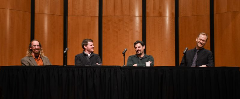 (From left to right) BRIAN BONDARI, DAN FORREST, CARTER PANN and FORREST PIERCE discuss the various aspects that have influenced their creative processes. A common theme between the composers' inspirations was the importance of simple phrases used to guide their music. photo by Chloe  Sonnier, staff photographer