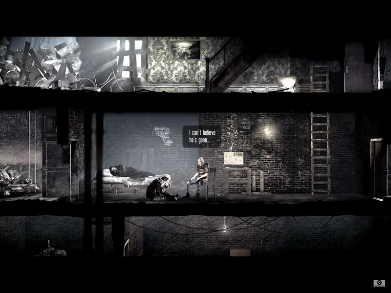 """This War of Mine"" screenshot depicting the repercussions of player decisions during gameplay."