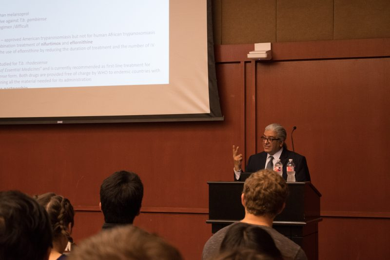 Global Health Initiative invited Fareed Mahmood Khan, associate professor at the Baylor College of Medicine, to campus to talk about the social justice issues behind treating tropical diseases. photo by Allison Wolff, staff photographer