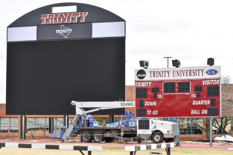 The Boombox while under construction, next to the old scoreboard. photo by Allison Wolff, staff photographer.