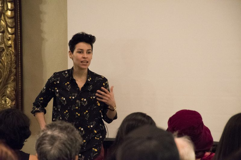 "Famous for her viral hit ""Dear Straight People,"" Denice Frohman discusses her personal experiences as a queer Latina and how they have affected her poetry. Frohman's work is notable for challenging popular narratives concerning often-overlooked identities, including both racial and sexual minorities, as well as the working class. photo by Chloe Sonnier, staff photographer"