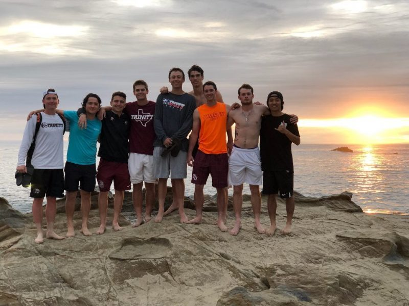 Members of the men's tennis team pose for a photo during a break from competition in California over spring break. photo provided by Tilden Oliver