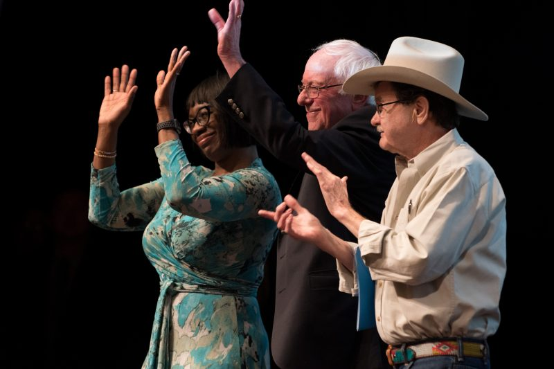 Former Ohio senator Nina Turner, Vermont senator Bernie Sanders and former Texas agriculture commissioner Jim Hightower stand together at the March 9 political rally hosted by Trinity Progressives and Our Revolution Texas. This was the first major event handled by the interoffice Event Review Committee. The group aims to improve the way events are created and promoted on campus by establishing clearer communication between the offices involved in the planning process. photo by Chloe Sonnier, staff photographer