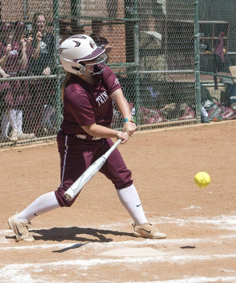 first-year infielder Carli Jones hits in a game vs. Southwestern. photo by Allison Wolff, staff photographer