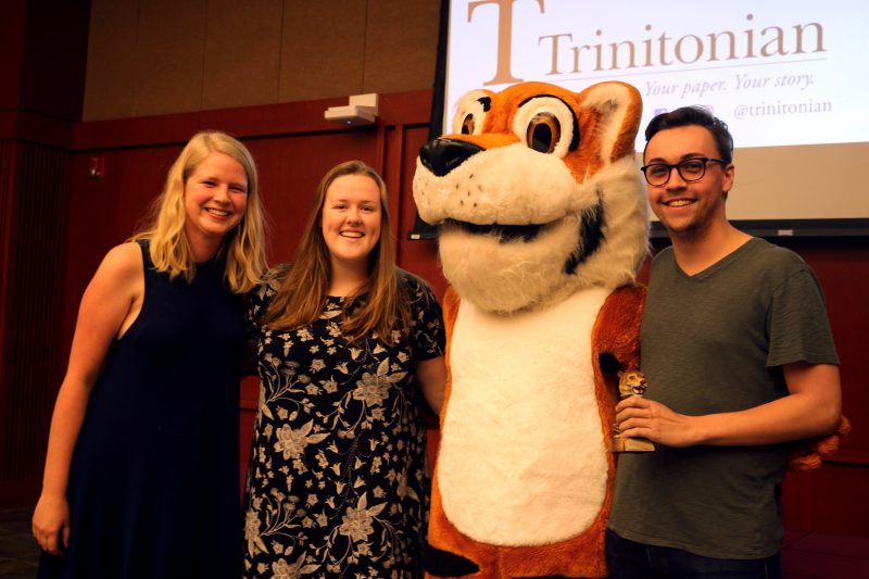 Managing editor Julia Weis, director of digital presence Grace Frye and editor-in-chief Daniel Conrad pose with LeeRoy after accepting the Trinitonian's